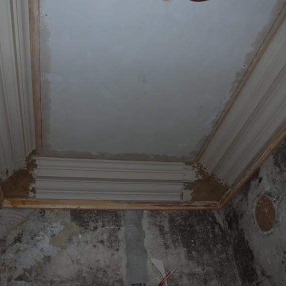 Claxby Hall, new cornice being run insitu in corridor