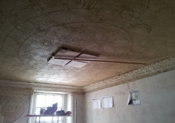 Claxby Hall, setting out the new staircase ceiling