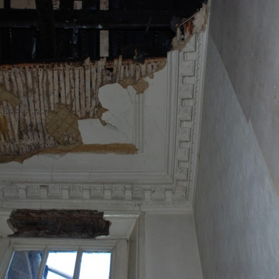 Claxby Hall, staircase ceiling after the fire