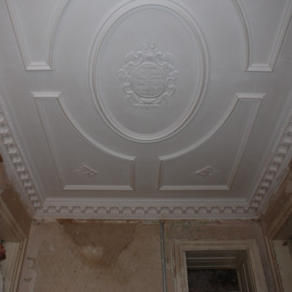 Claxby Hall, staircase, ceiling restored