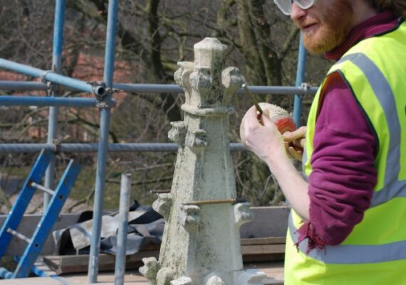 East Barkwith church, piecing in to finial, April 2013