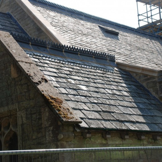 East Barkwith church, re-slated roofs, May 2013