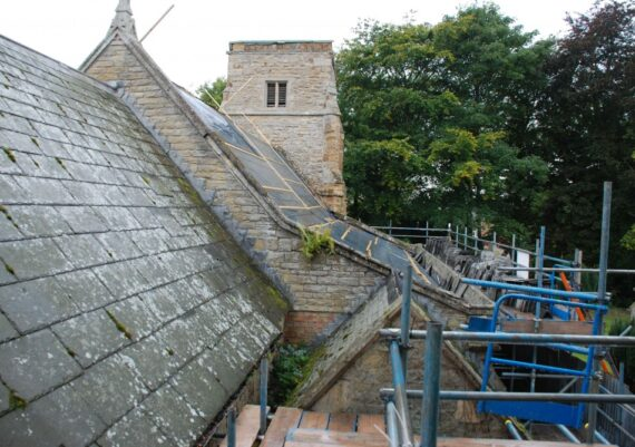 East Barkwith church, roofs being stripped, September 2012