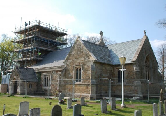 East Barkwith church, roofs completed, tower works underway, May 2013