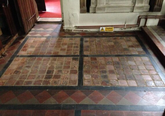 Sandridge church, tiles after conservation is complete