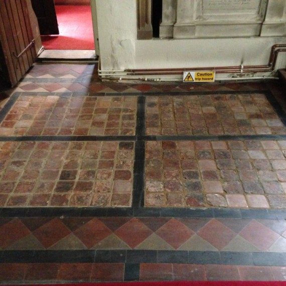 Sandridge church, tiles after conservation is complete