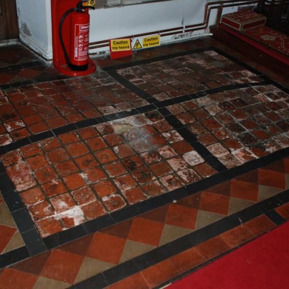 Sandridge church, tiles before conservation
