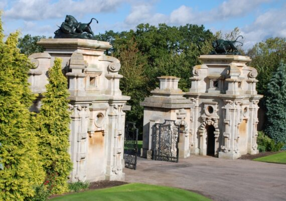 Harlaxton Front Circle, the gate lodges with work completed