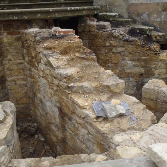 Harlaxton Front Circle steps during repair