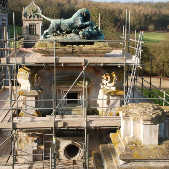 Harlaxton Front Circle gate lodge scaffolded ready for work to commence