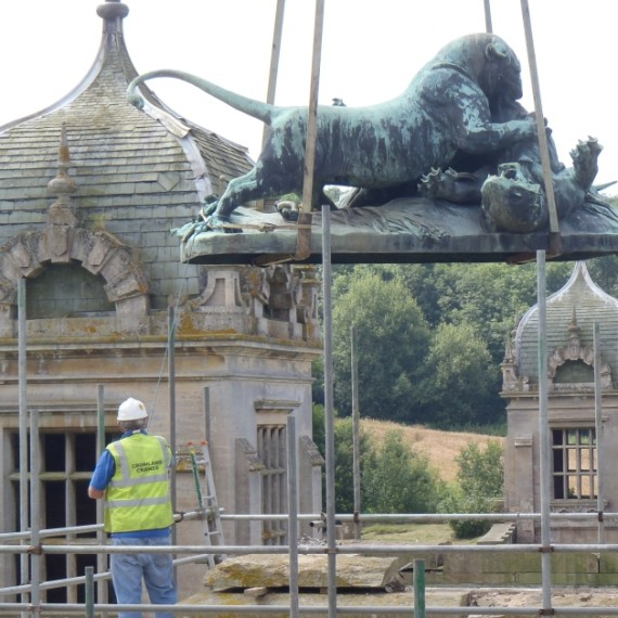 Harlaxton Front Circle, lion being lifted