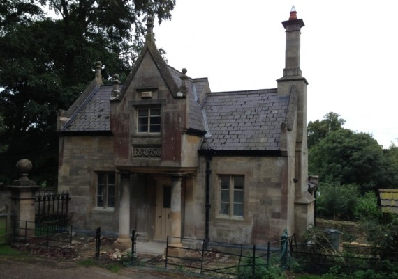 Stoke Rochford South Lodge, with columns repaired