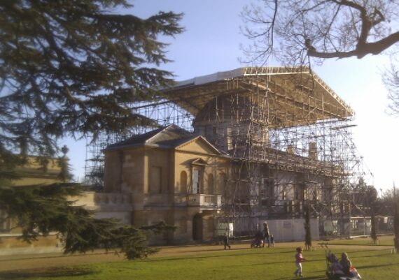 Chiswick House, scaffolding being erected